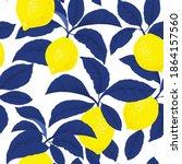lemon citrus vector pattern.... | Shutterstock .eps vector #1864157560