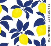 lemon citrus vector pattern....   Shutterstock .eps vector #1864157563