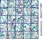 seamless mosaic of blue plants... | Shutterstock .eps vector #1864177489