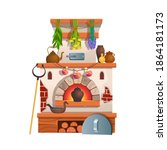 traditional russian stove with...   Shutterstock .eps vector #1864181173