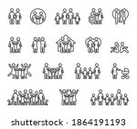 vector set of family line icons....   Shutterstock .eps vector #1864191193