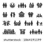 vector set of family flat icons.... | Shutterstock .eps vector #1864191199