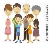 three generation family  vector ... | Shutterstock .eps vector #186421280