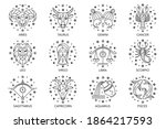 collection of zodiac signs on... | Shutterstock .eps vector #1864217593