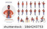hipster man poses vector... | Shutterstock .eps vector #1864243753