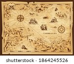 old pirate map  vector worn... | Shutterstock .eps vector #1864245526