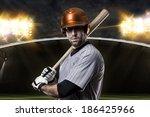 baseball player on a orange... | Shutterstock . vector #186425966