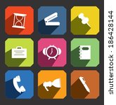 office item flat icon set  | Shutterstock .eps vector #186428144