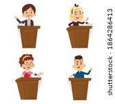 cartoon schoolchildren make a...   Shutterstock .eps vector #1864286413