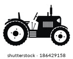 tractor - black - stock vector