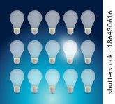 set of light bulbs and one...   Shutterstock . vector #186430616