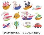 set of cartoon icons of sea ... | Shutterstock .eps vector #1864345099