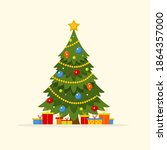 christmas tree. decorated... | Shutterstock .eps vector #1864357000