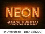 neon alphabet font. 3d neon... | Shutterstock .eps vector #1864388200