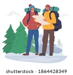 happy tourist couple with...   Shutterstock .eps vector #1864428349