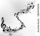 musical note staff. eps 10... | Shutterstock .eps vector #186443696