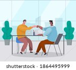 two businessman make a touch... | Shutterstock .eps vector #1864495999