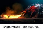 Fire breathes explode from a giant dragon on a heroic medieval knight on a horse in a black night, the epic battle between good and evil - concept art - 3D rendering
