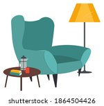armchair  lamp and books with... | Shutterstock .eps vector #1864504426
