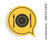 black plate with clock  fork... | Shutterstock .eps vector #1864511839