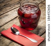 strawberry jam with spoon... | Shutterstock . vector #186452606