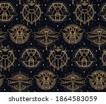sacred insects seamless pattern ... | Shutterstock .eps vector #1864583059