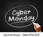 a hand writing 'cyber monday'...   Shutterstock . vector #1864590109