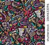 music hand drawn doodles... | Shutterstock .eps vector #1864633096
