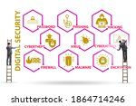 digital security concept with...   Shutterstock . vector #1864714246