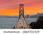 sunset view of the bay bridge...   Shutterstock . vector #1864731529