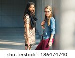 couple of women portrait... | Shutterstock . vector #186474740