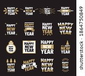 set  collection happy new year... | Shutterstock .eps vector #1864750849