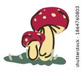 Cute Cartoon Toadstool Mushroom ...