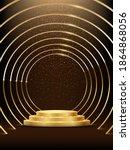 golden round metal circle rings ... | Shutterstock .eps vector #1864868056