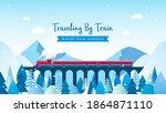 traveling by train   winter... | Shutterstock .eps vector #1864871110