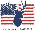 American Flag Hunting Deer...