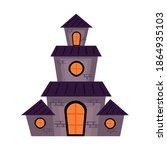 halloween haunted castle... | Shutterstock .eps vector #1864935103