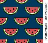 vector seamless watermelon... | Shutterstock .eps vector #1864937800