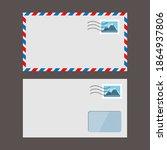 set of vector paper envelopes.... | Shutterstock .eps vector #1864937806
