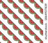 vector seamless watermelon... | Shutterstock .eps vector #1864937839