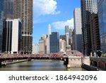 Chicago River Skyline   City...