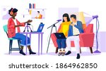 couple with laptop sings a song ... | Shutterstock .eps vector #1864962850