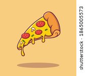 flying slice of pizza with...   Shutterstock .eps vector #1865005573