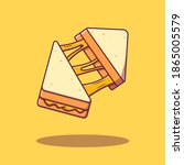 flying slice cheese sandwich... | Shutterstock .eps vector #1865005579