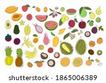 set of tropical fruits. bright... | Shutterstock .eps vector #1865006389