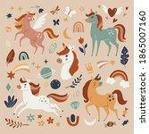 unicorns collection. vector... | Shutterstock .eps vector #1865007160