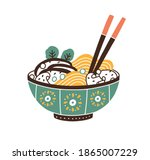painted ceramic bowl of...   Shutterstock .eps vector #1865007229