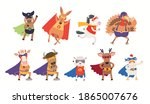 cute animal superheroes big... | Shutterstock .eps vector #1865007676