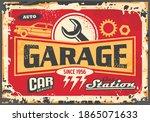 Garage Sign. Vintage Old...
