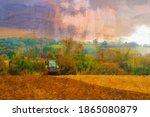 Tractor Sowing Crop Seeds In An ...